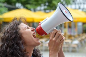 woman with megaphone